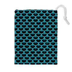 Scales3 Black Marble & Turquoise Colored Pencil (r) Drawstring Pouches (extra Large)
