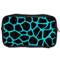 Skin1 Black Marble & Turquoise Colored Pencil Toiletries Bags