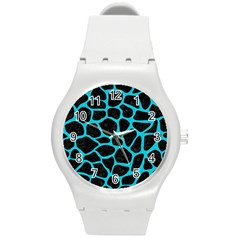 Skin1 Black Marble & Turquoise Colored Pencil Round Plastic Sport Watch (m)