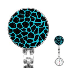 Skin1 Black Marble & Turquoise Colored Pencil Stainless Steel Nurses Watch