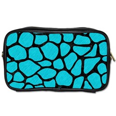 Skin1 Black Marble & Turquoise Colored Pencil (r) Toiletries Bags