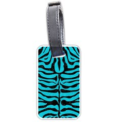 Skin2 Black Marble & Turquoise Colored Pencil Luggage Tags (two Sides)