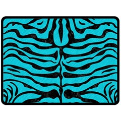Skin2 Black Marble & Turquoise Colored Pencil Double Sided Fleece Blanket (large)
