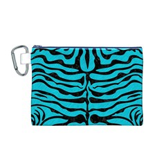 Skin2 Black Marble & Turquoise Colored Pencil Canvas Cosmetic Bag (m)