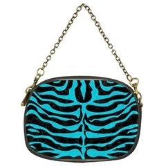 Skin2 Black Marble & Turquoise Colored Pencil (r) Chain Purses (two Sides)
