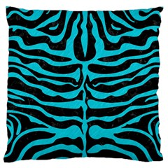 Skin2 Black Marble & Turquoise Colored Pencil (r) Large Cushion Case (one Side)
