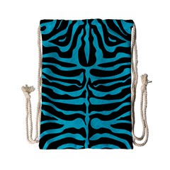 Skin2 Black Marble & Turquoise Colored Pencil (r) Drawstring Bag (small)