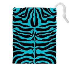 Skin2 Black Marble & Turquoise Colored Pencil (r) Drawstring Pouches (xxl)