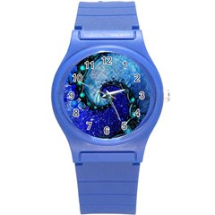 Nocturne Of Scorpio, A Fractal Spiral Painting Round Plastic Sport Watch (s)