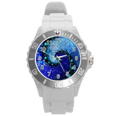 Nocturne Of Scorpio, A Fractal Spiral Painting Round Plastic Sport Watch (l)
