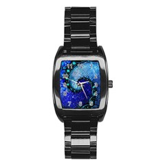 Nocturne Of Scorpio, A Fractal Spiral Painting Stainless Steel Barrel Watch