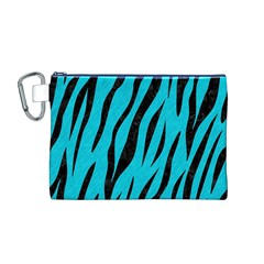 Skin3 Black Marble & Turquoise Colored Pencil Canvas Cosmetic Bag (m)