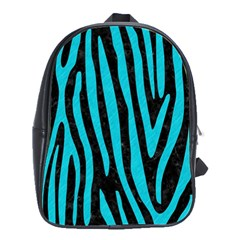Skin4 Black Marble & Turquoise Colored Pencil School Bag (large)