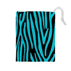 Skin4 Black Marble & Turquoise Colored Pencil Drawstring Pouches (large)