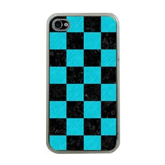 Square1 Black Marble & Turquoise Colored Pencil Apple Iphone 4 Case (clear)