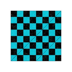 Square1 Black Marble & Turquoise Colored Pencil Acrylic Tangram Puzzle (4  X 4 )