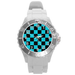 Square1 Black Marble & Turquoise Colored Pencil Round Plastic Sport Watch (l)