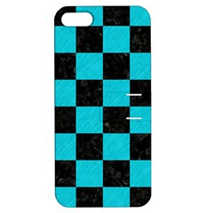 Square1 Black Marble & Turquoise Colored Pencil Apple Iphone 5 Hardshell Case With Stand