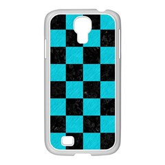 Square1 Black Marble & Turquoise Colored Pencil Samsung Galaxy S4 I9500/ I9505 Case (white)