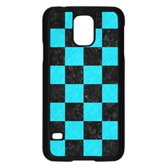 Square1 Black Marble & Turquoise Colored Pencil Samsung Galaxy S5 Case (black)