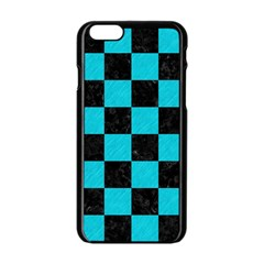 Square1 Black Marble & Turquoise Colored Pencil Apple Iphone 6/6s Black Enamel Case