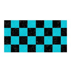 Square1 Black Marble & Turquoise Colored Pencil Satin Wrap