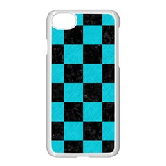 Square1 Black Marble & Turquoise Colored Pencil Apple Iphone 8 Seamless Case (white)
