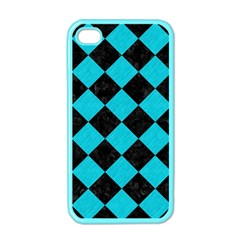 Square2 Black Marble & Turquoise Colored Pencil Apple Iphone 4 Case (color)