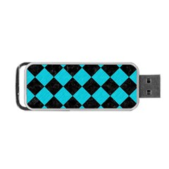 Square2 Black Marble & Turquoise Colored Pencil Portable Usb Flash (two Sides)