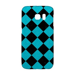 Square2 Black Marble & Turquoise Colored Pencil Galaxy S6 Edge