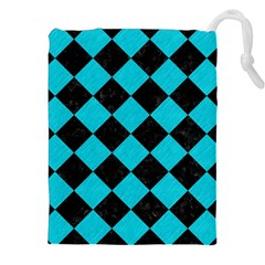 Square2 Black Marble & Turquoise Colored Pencil Drawstring Pouches (xxl)