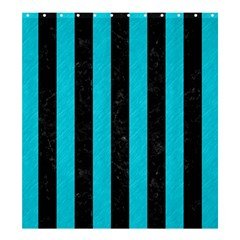 Stripes1 Black Marble & Turquoise Colored Pencil Shower Curtain 66  X 72  (large)