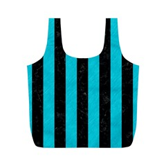 Stripes1 Black Marble & Turquoise Colored Pencil Full Print Recycle Bags (m)