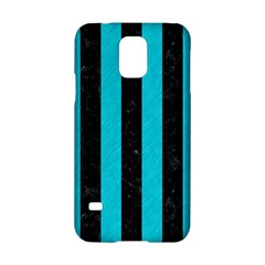 Stripes1 Black Marble & Turquoise Colored Pencil Samsung Galaxy S5 Hardshell Case