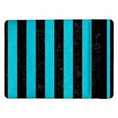 Stripes1 Black Marble & Turquoise Colored Pencil Samsung Galaxy Tab Pro 12 2  Flip Case