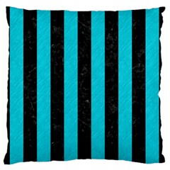 Stripes1 Black Marble & Turquoise Colored Pencil Standard Flano Cushion Case (two Sides)