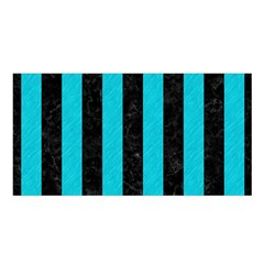 Stripes1 Black Marble & Turquoise Colored Pencil Satin Shawl