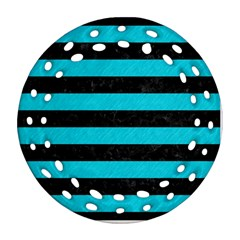 Stripes2 Black Marble & Turquoise Colored Pencil Ornament (round Filigree)