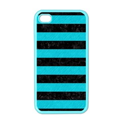 Stripes2 Black Marble & Turquoise Colored Pencil Apple Iphone 4 Case (color)