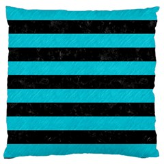 Stripes2 Black Marble & Turquoise Colored Pencil Large Cushion Case (one Side)