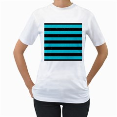 Stripes2 Black Marble & Turquoise Colored Pencil Women s T Shirt (white)