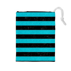Stripes2 Black Marble & Turquoise Colored Pencil Drawstring Pouches (large)
