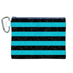 Stripes2 Black Marble & Turquoise Colored Pencil Canvas Cosmetic Bag (xl)
