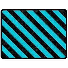 Stripes3 Black Marble & Turquoise Colored Pencil Fleece Blanket (large)