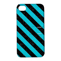 Stripes3 Black Marble & Turquoise Colored Pencil Apple Iphone 4/4s Hardshell Case With Stand