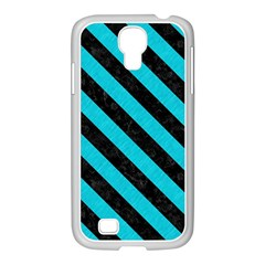 Stripes3 Black Marble & Turquoise Colored Pencil Samsung Galaxy S4 I9500/ I9505 Case (white)