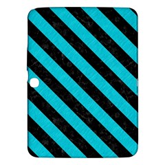 Stripes3 Black Marble & Turquoise Colored Pencil Samsung Galaxy Tab 3 (10 1 ) P5200 Hardshell Case