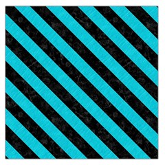 Stripes3 Black Marble & Turquoise Colored Pencil Large Satin Scarf (square)