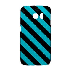 Stripes3 Black Marble & Turquoise Colored Pencil Galaxy S6 Edge