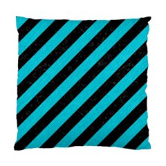 Stripes3 Black Marble & Turquoise Colored Pencil (r) Standard Cushion Case (two Sides)